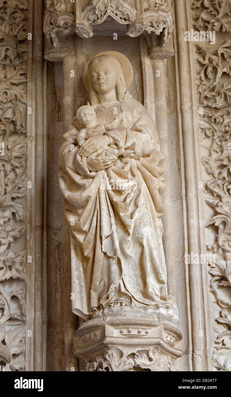 TOLEDO - MARCH 8: Madonna from atrium of Monasterio San Juan de los Reyes or Monastery of Saint John of the Kings - Stock Image