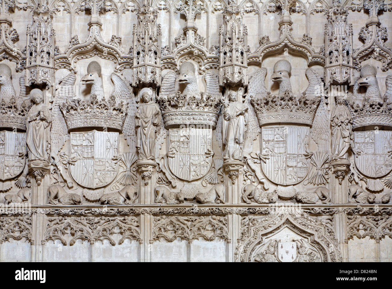 TOLEDO - MARCH 8: Detail of gothic interior of Monasterio San Juan de los Reyes or Monastery of Saint John of the - Stock Image