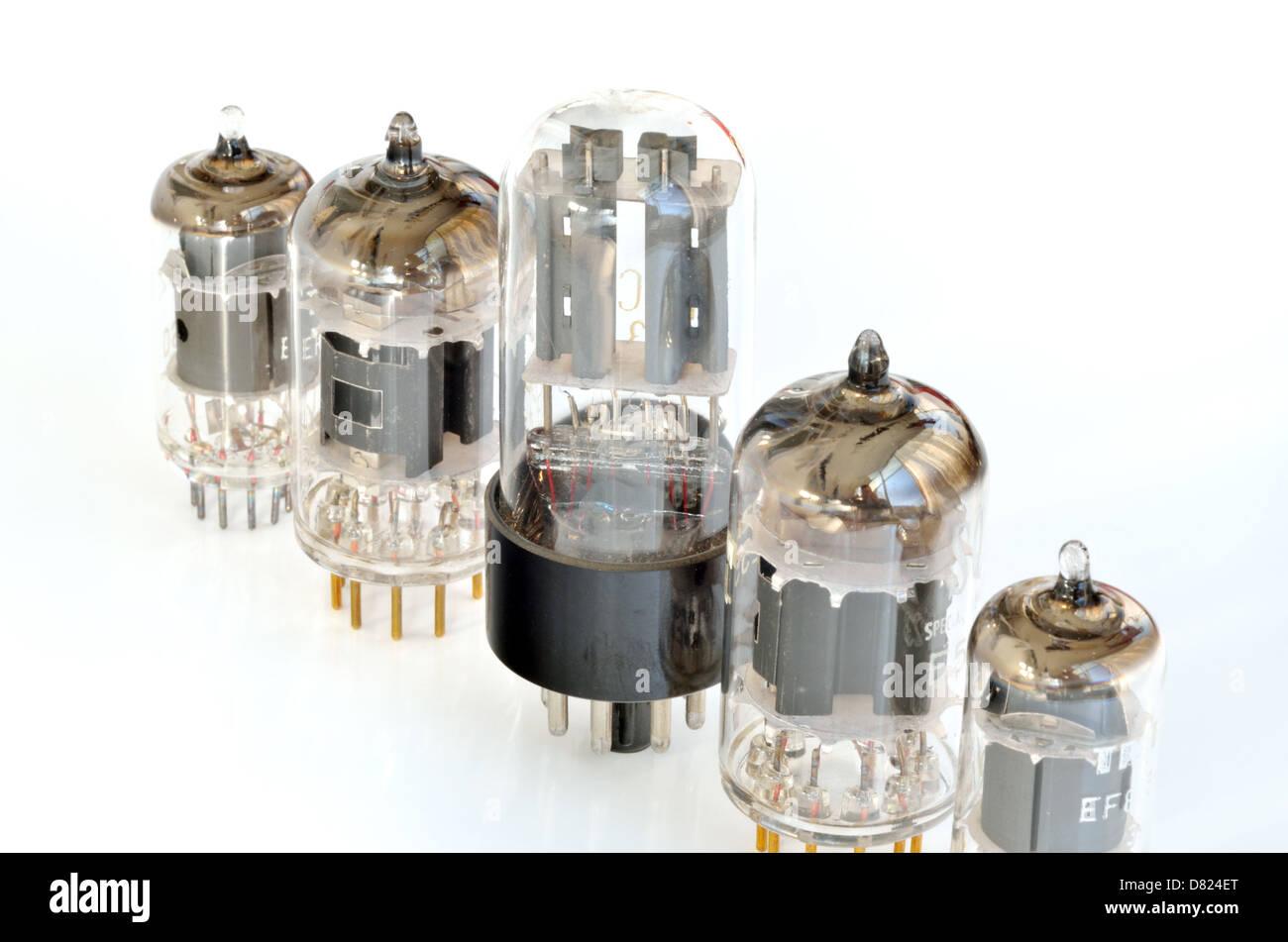 Old vacuum radio tubes isolated on white background Stock Photo