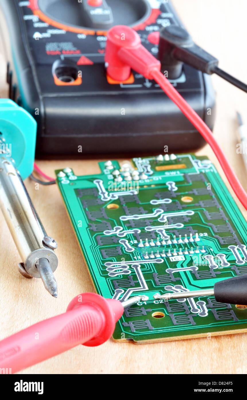 Test Repair Job On Electronic Printed Circuit Board Stock Photo