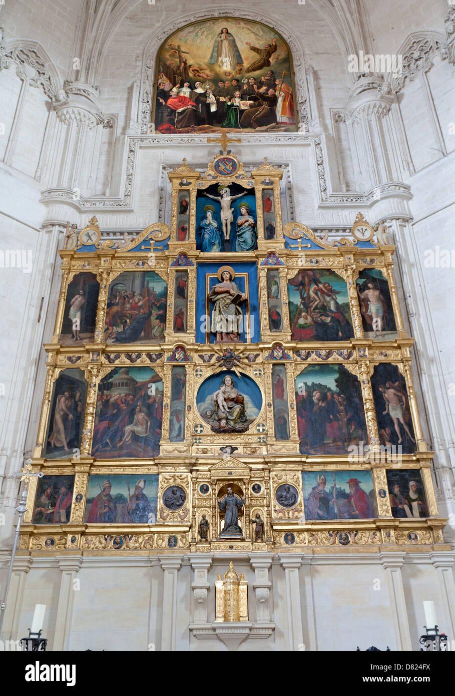 TOLEDO - MARCH 8: Gothic main altar of Monasterio San Juan de los Reyes or Monastery of Saint John of the Kings - Stock Image