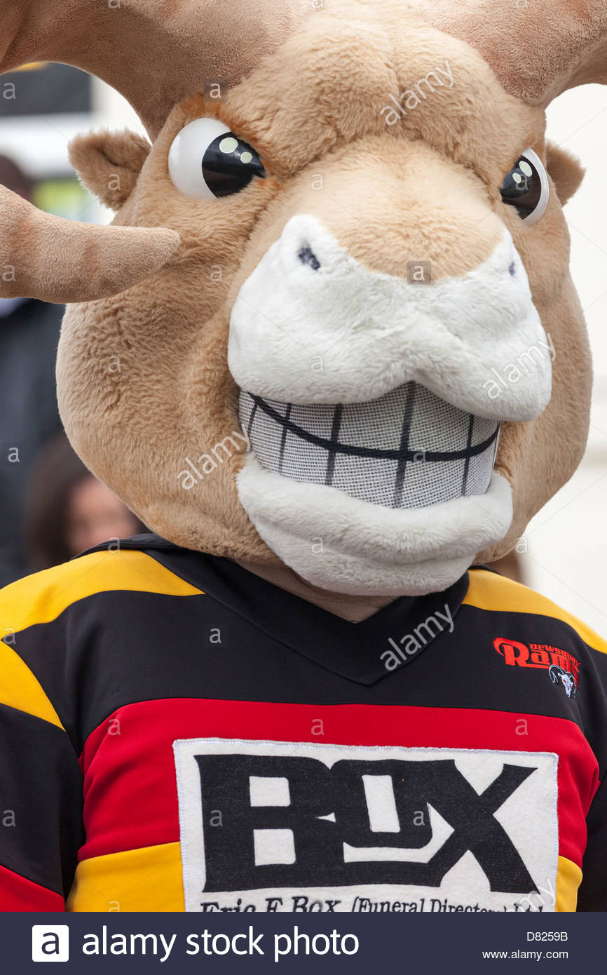 Roger the Ram - Dewsbury Rams rugby club mascot at the World Coal Carrying Championships Gawthorpe West Yorkshire - Stock Image