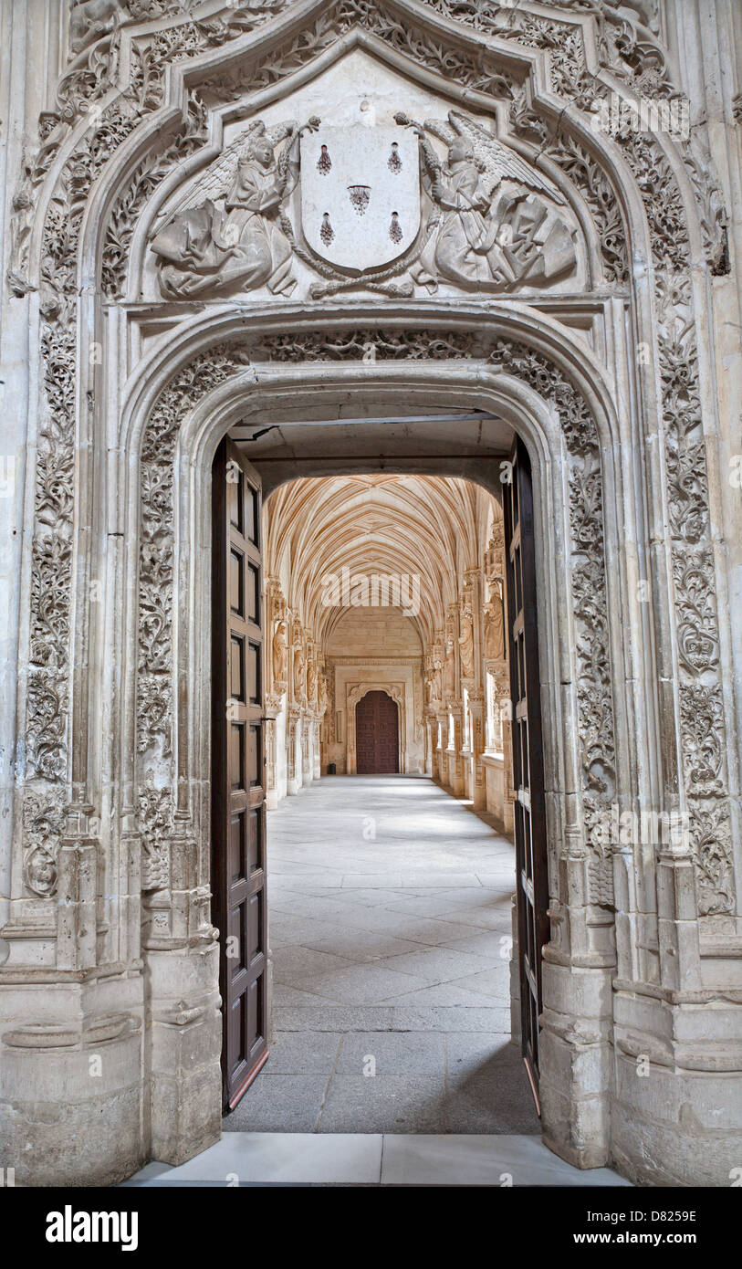 TOLEDO - MARCH 8: Look to Gothic atrium over the portal in Monasterio San Juan de los Reyes Stock Photo