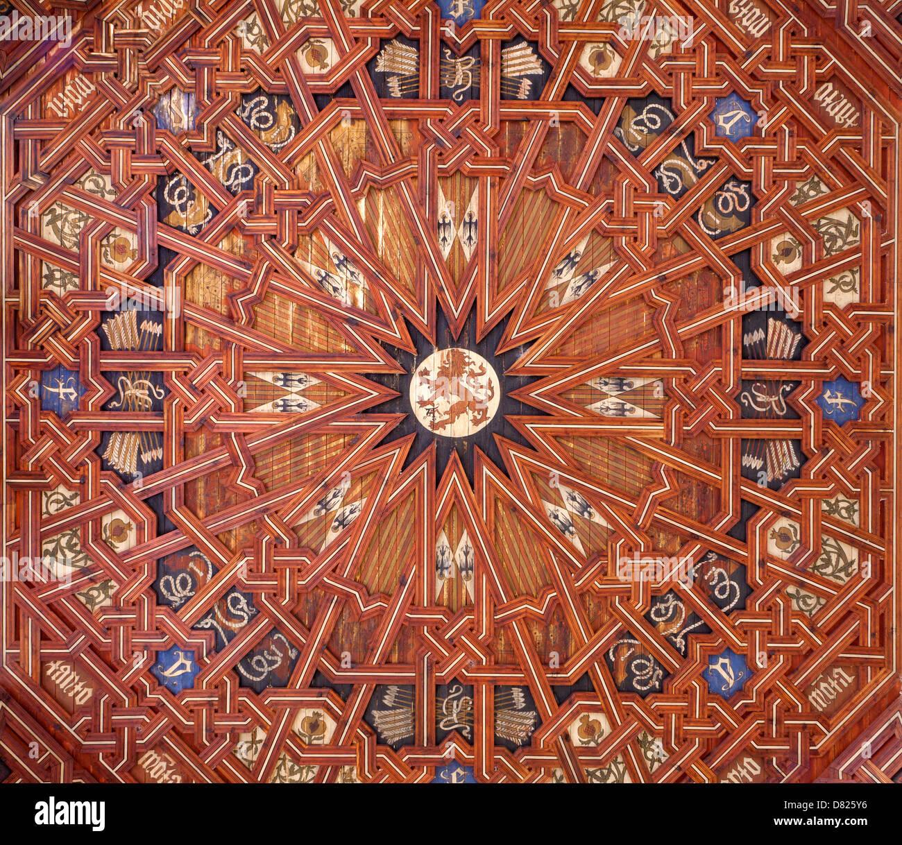TOLEDO - MARCH 8: Ceiling of atrium of Monasterio San Juan de los Reyes or Monastery of Saint John of the Kings Stock Photo