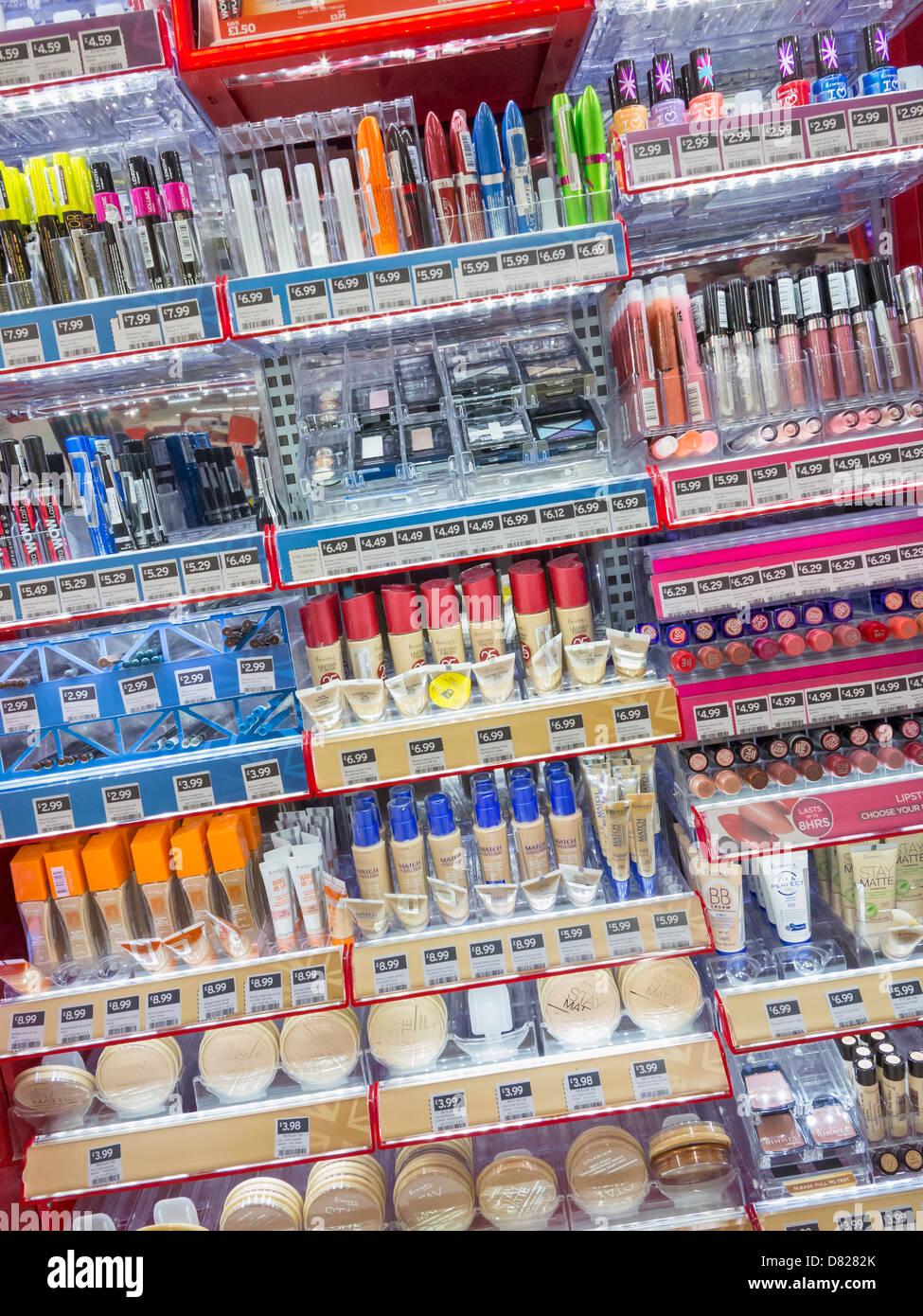 Cosmetics on the shelves of a UK supermarket, UK - Stock Image
