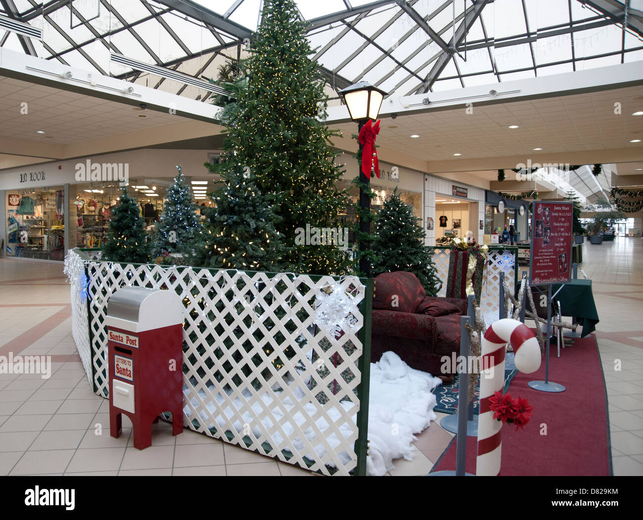A shopping mall indoors decorated for Christmas, rural Saskatchewan, Canada - Stock Image