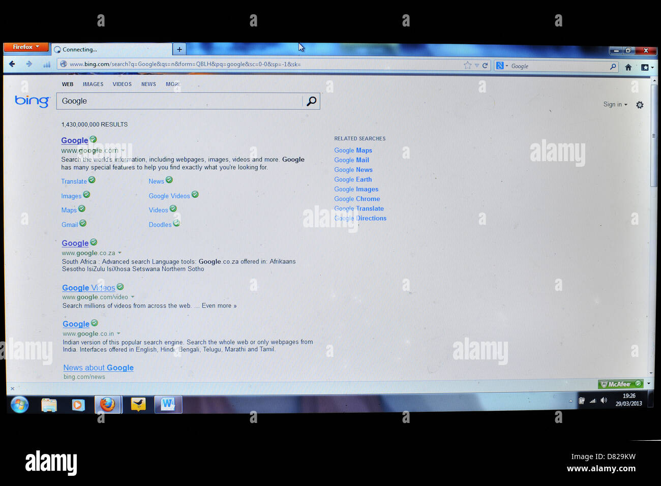Image of a laptop screen showing Bing search engine. - Stock Image