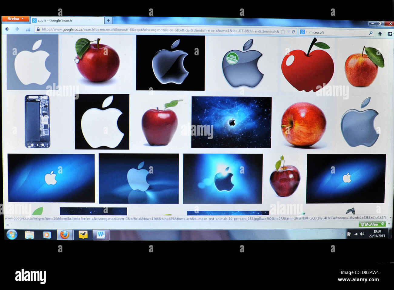 Image of a laptop screen showing - Stock Image