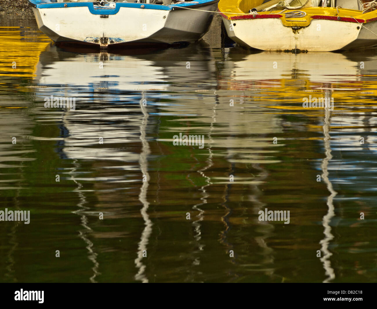 Contemporary abstract picture of the boats at the shore of the lake, Nicol End, Lake District, Cumbria, UK - Stock Image