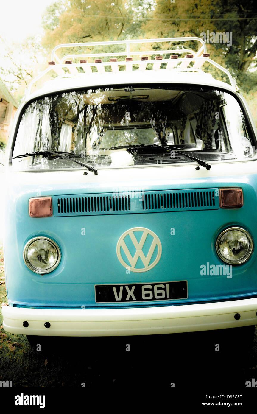 VW  Camper Van - with a retro / vintage look. UK - Stock Image