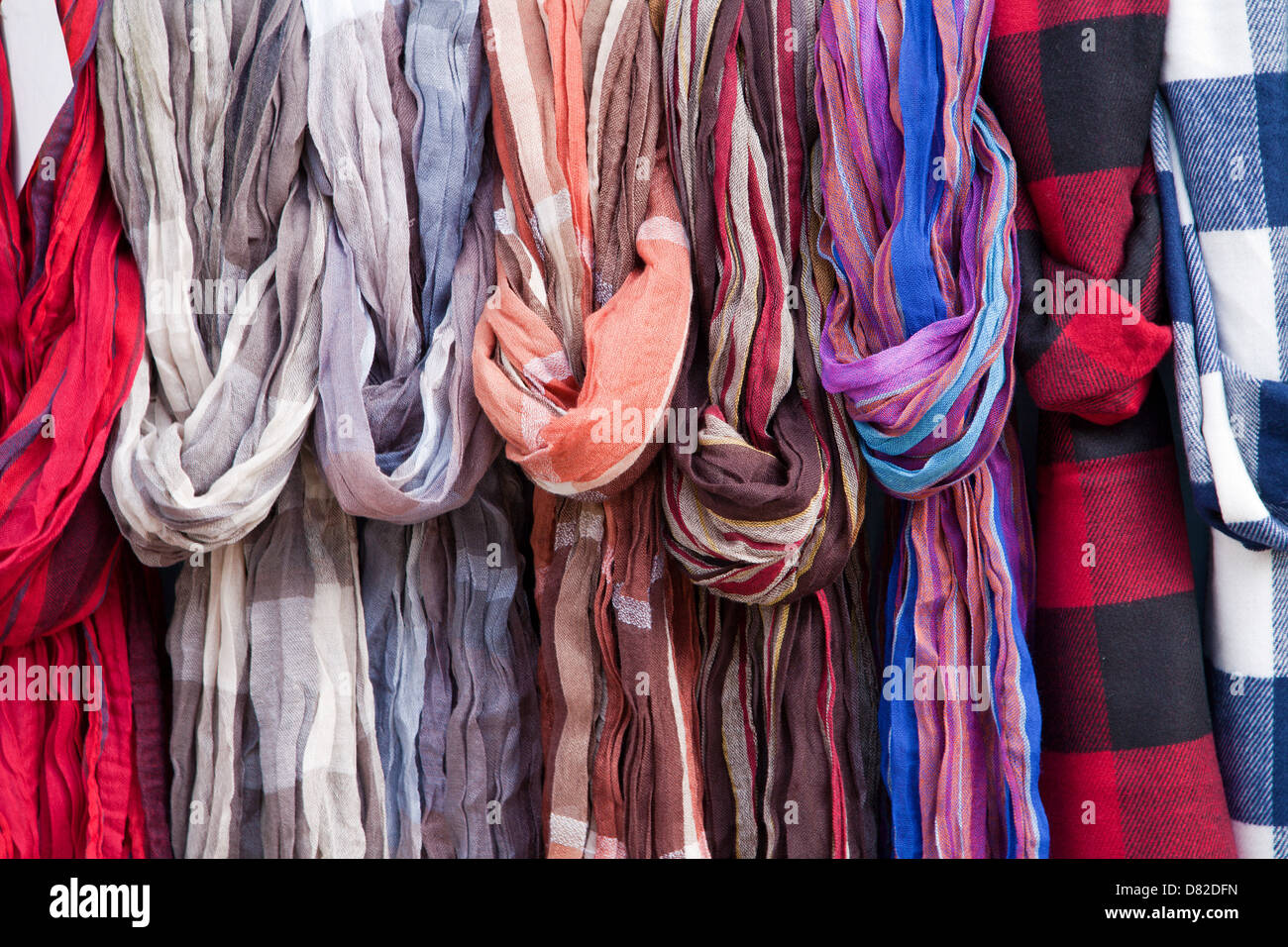 headcloths from market in Madrid - Stock Image