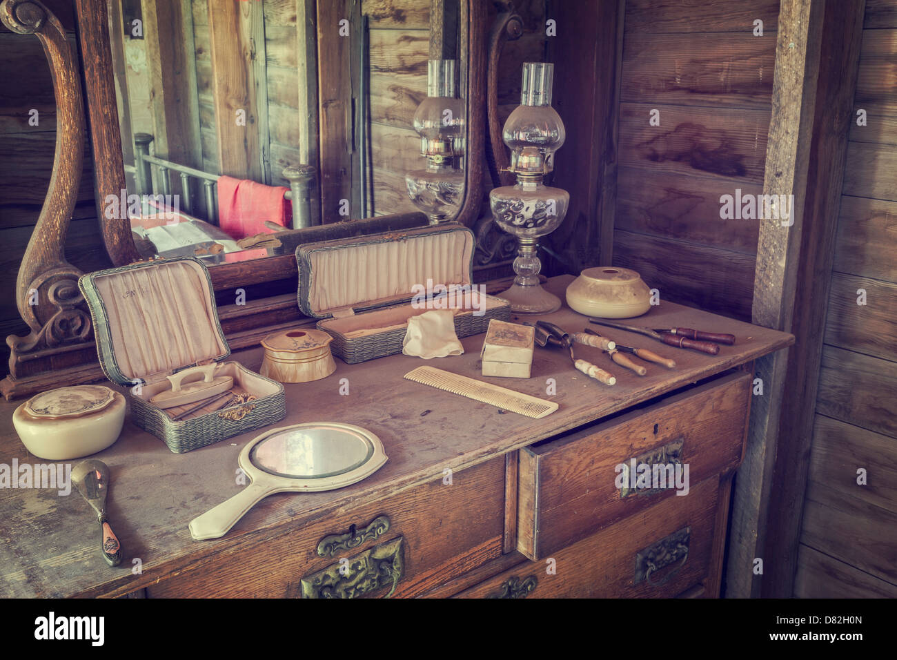 Woman's dresser and vanity in western style ghost town, Dobby's Frontier Town, Alliance, Nebraska - Stock Image