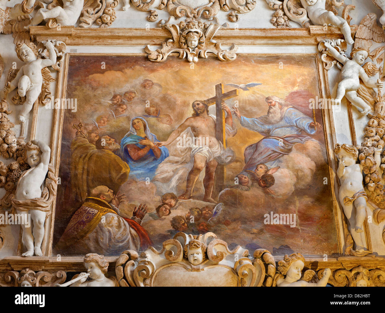 PALERMO - APRIL 8: Fresco of Holy Trinity from side nave in church La chiesa del Gesu - Stock Image
