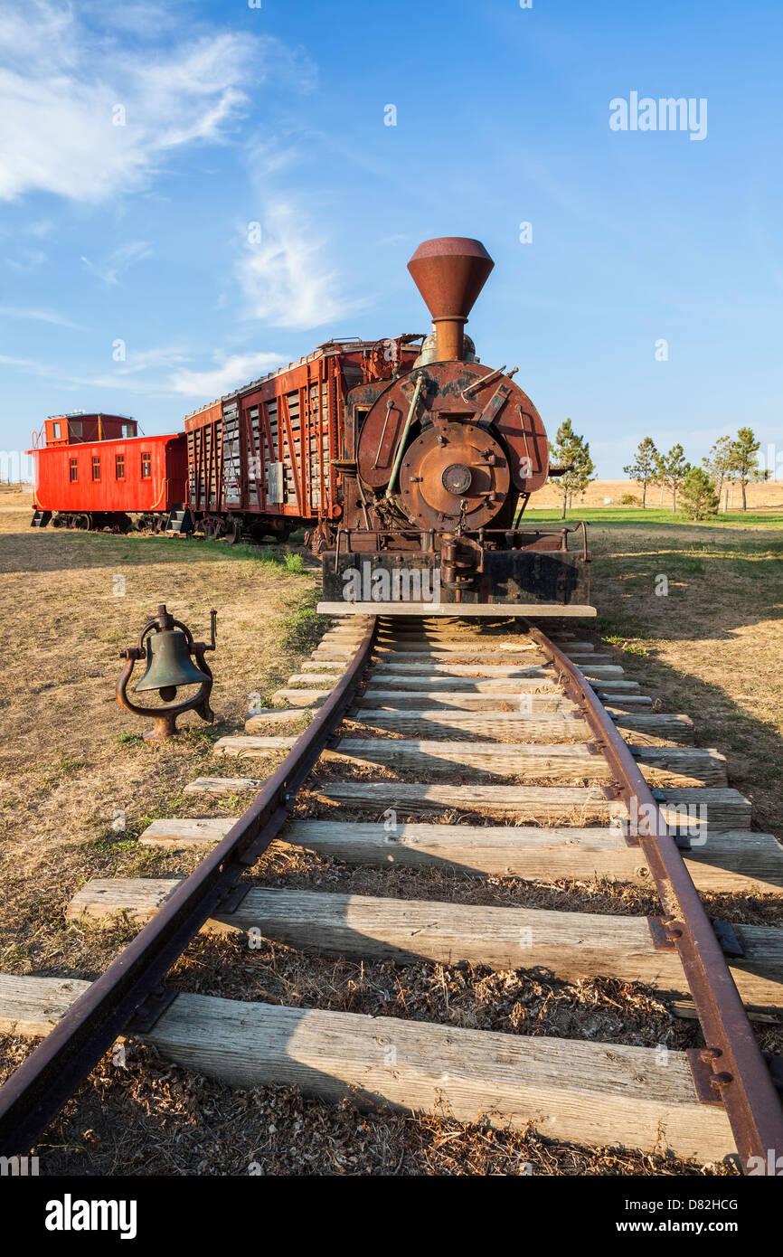 Antique steam locomotive at 1880 Town in South Dakota - Stock Image