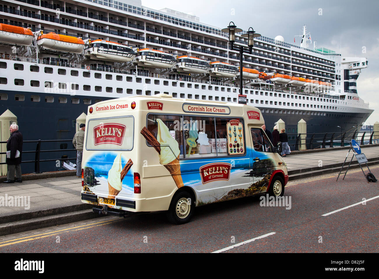 Liverpool, UK 17th May, 2013. Cornish Ice cream vendor van at the Big Cruise Liner Terminal where the Passenger - Stock Image