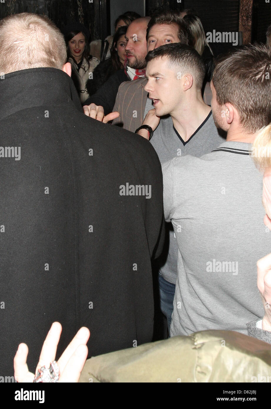 Russell Tovey is thrown out by the bouncers at The Box nightclub in Soho. London, England - 17.02.12 - Stock Image