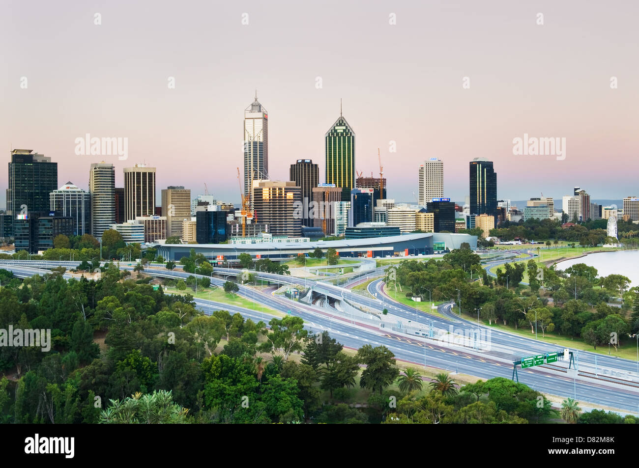Perth City Centre at dusk. - Stock Image