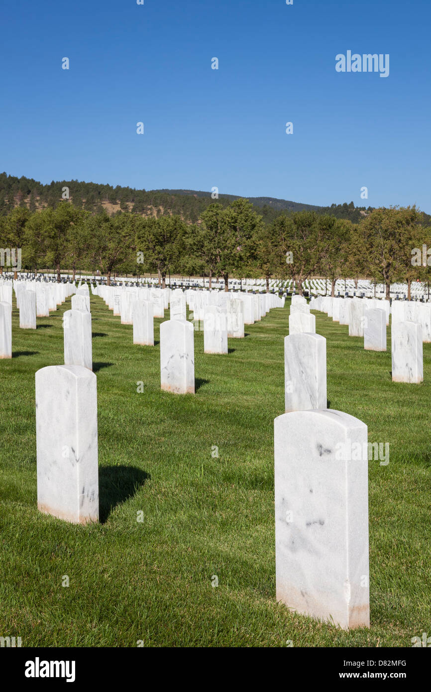 Grave Markers at Black Hills National Cemetery near Sturgis, South Dakota - Stock Image