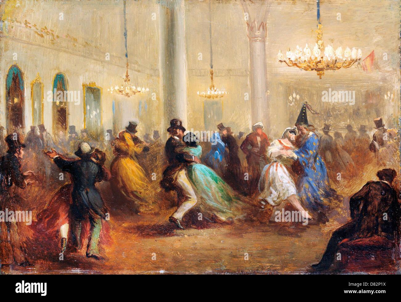 Ricardo Balaca, The Baile de Capellanes 1860-1865 Oil on tinplate. Bilbao Fine Arts Museum, Bilbao, Spain. - Stock Image