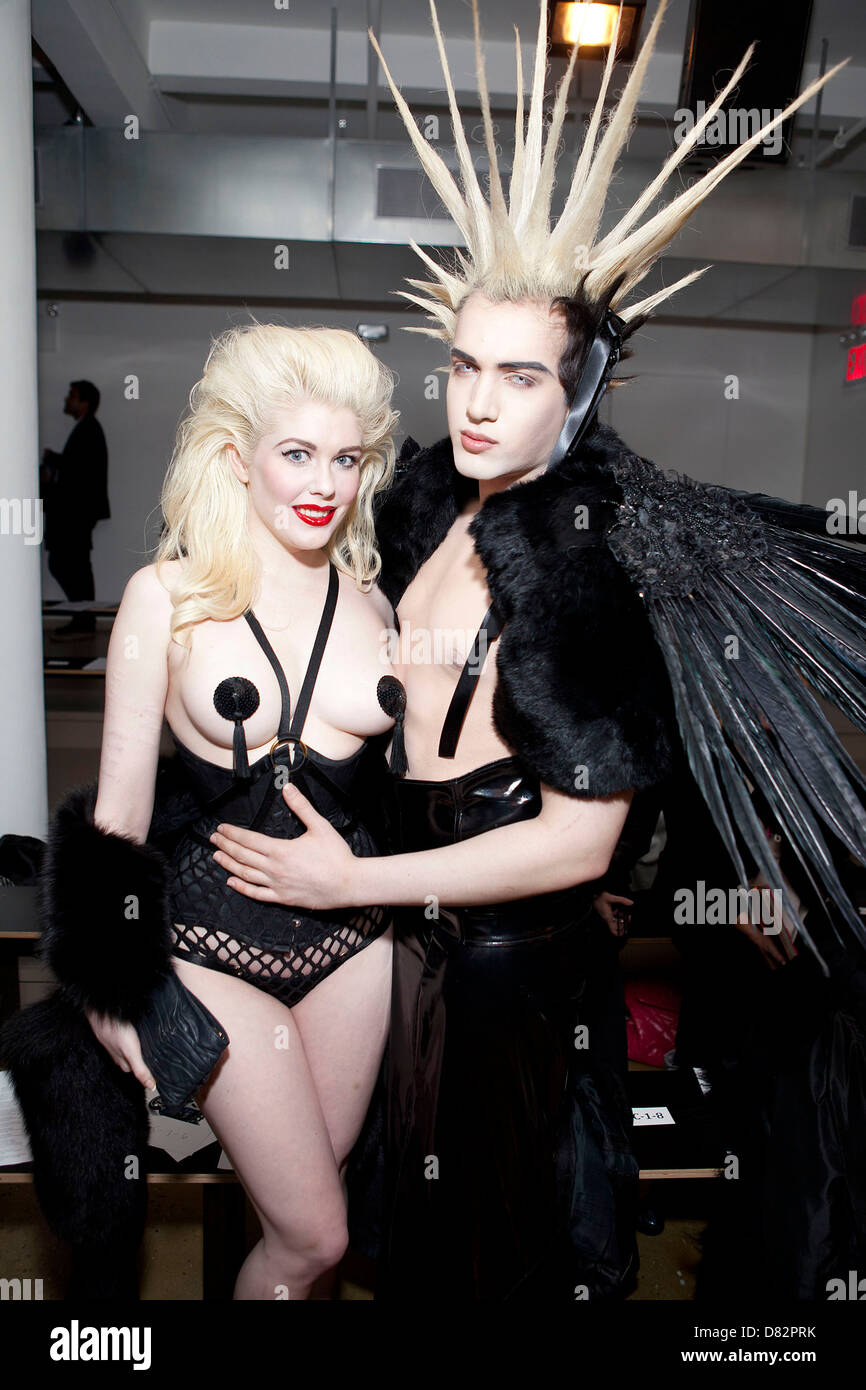 Anna Evans, Kayvon Zand Mercedes-Benz Fashion Week - Fall 2012 - The Blonds - Backstage New York City, USA - 15.02.12 - Stock Image