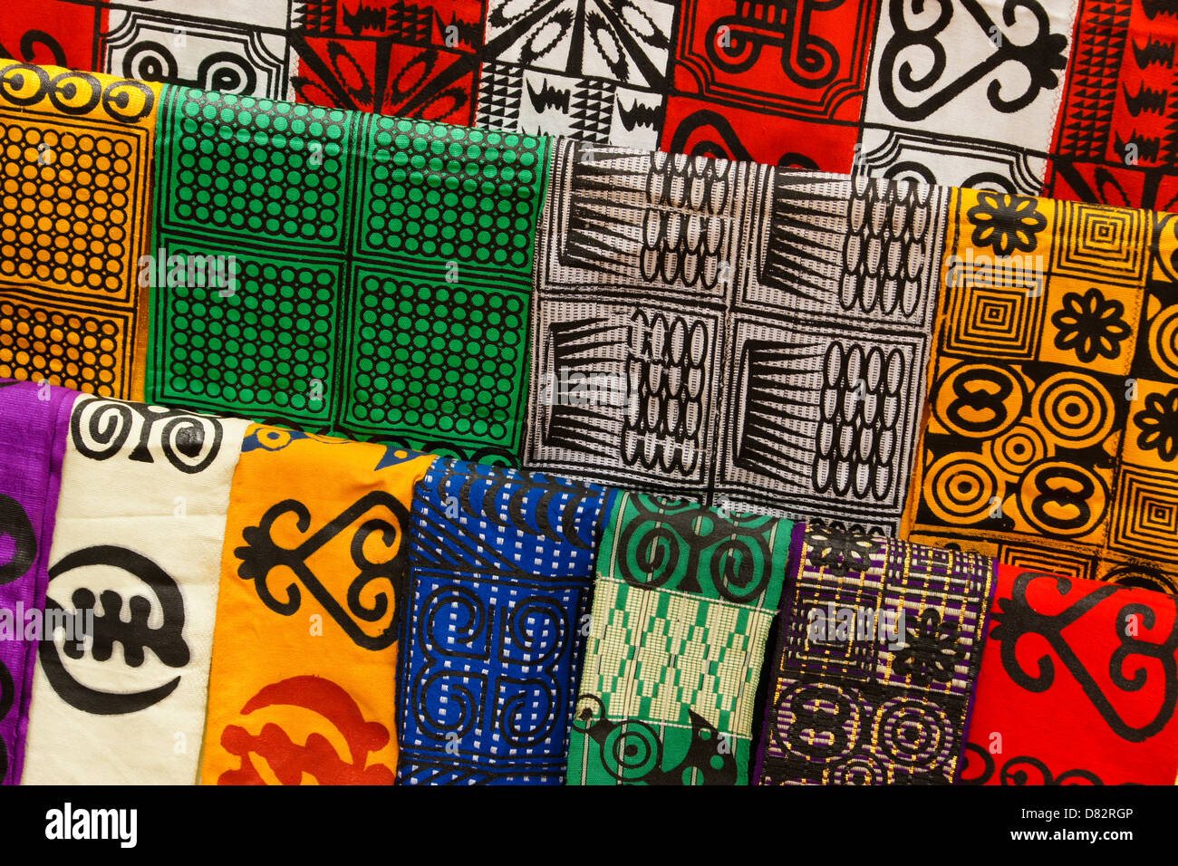 Adinkra stamped cloth, Ntonso, Ghana - Stock Image