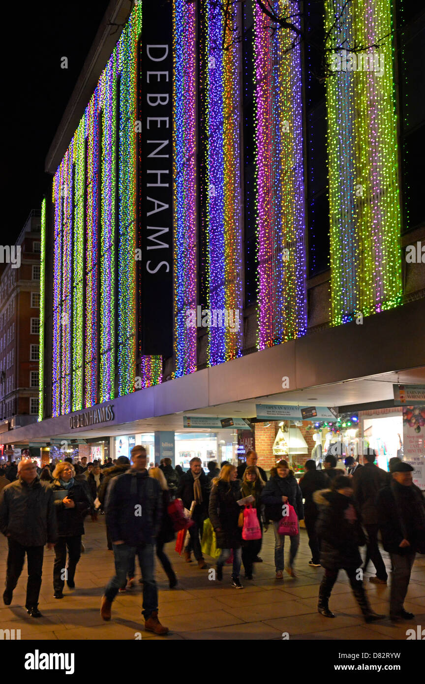 Debenhams department store in Oxford street with Christmas lights ...