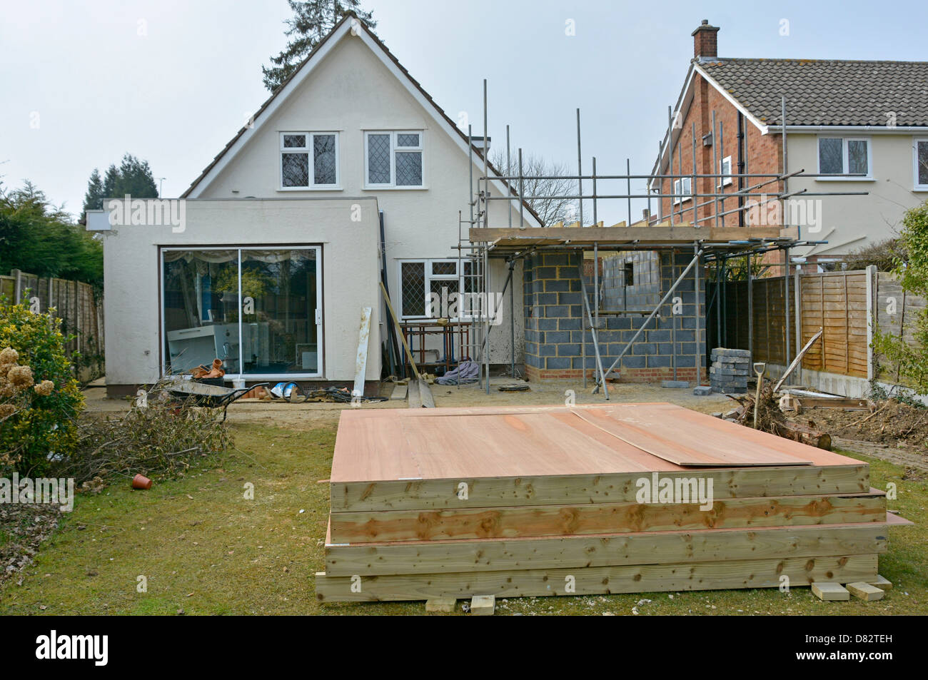 Timber frame prefabricated construction panels to form bedroom Stock ...