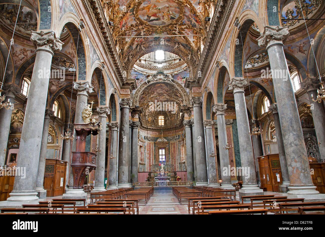 PALERMO - APRIL 8: Interior from baroque church of San Giuseppe dei Teatini April 8, 2013 in Palermo, Italy. - Stock Image