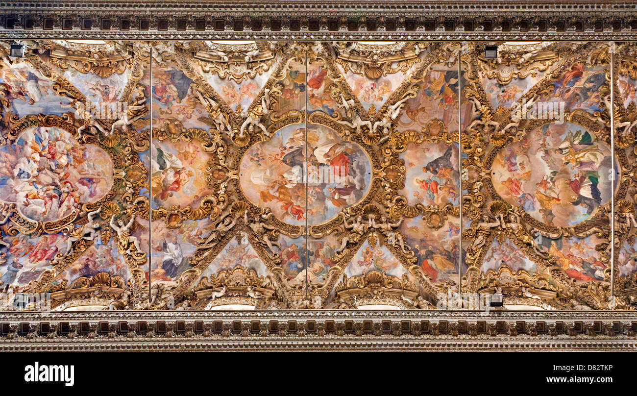 PALERMO - APRIL 8: Fresco from ceiling in baroque church of San Giuseppe dei Teatini April 8, 2013 in Palermo, Italy. - Stock Image