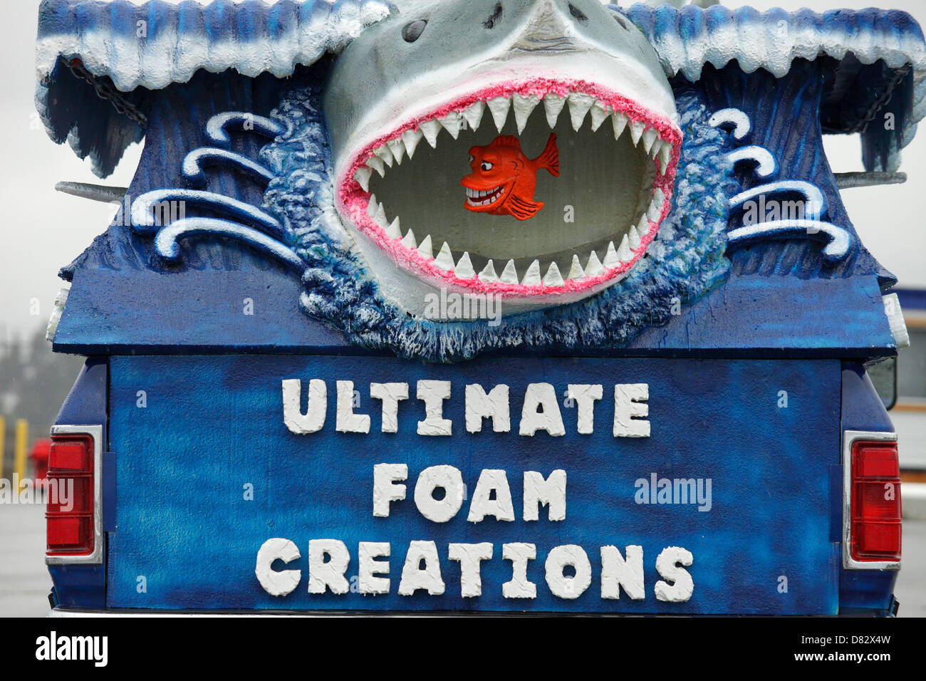 Great White Shark business logo on back of truck for Foam creation company-Victoria, British Columbia, Canada. - Stock Image