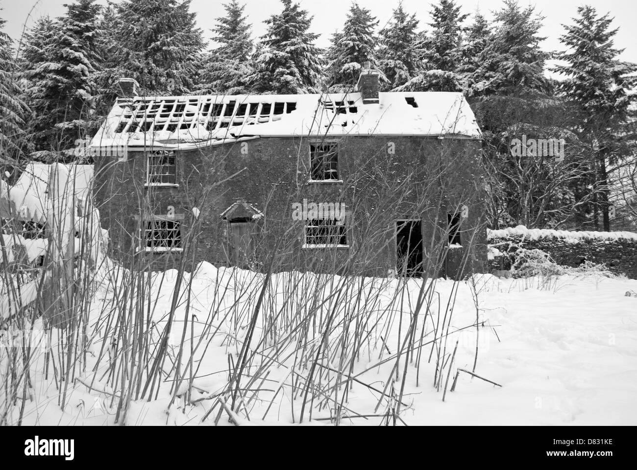 Blaize Bailey Farmhouse near Newnham on Severn Gloucestershire, a derelict farmhouse in the snow - Stock Image