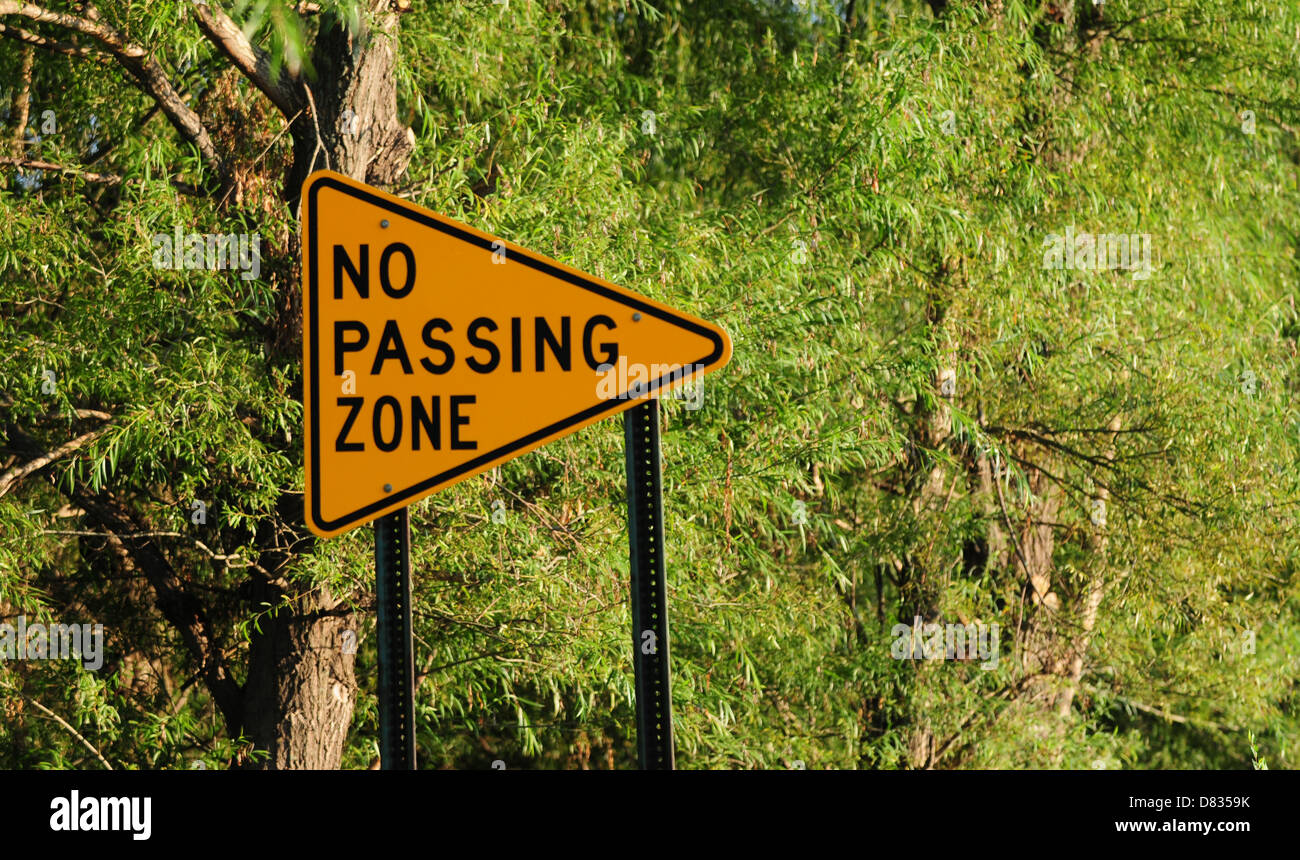 no passing zone sign for drivers - Stock Image