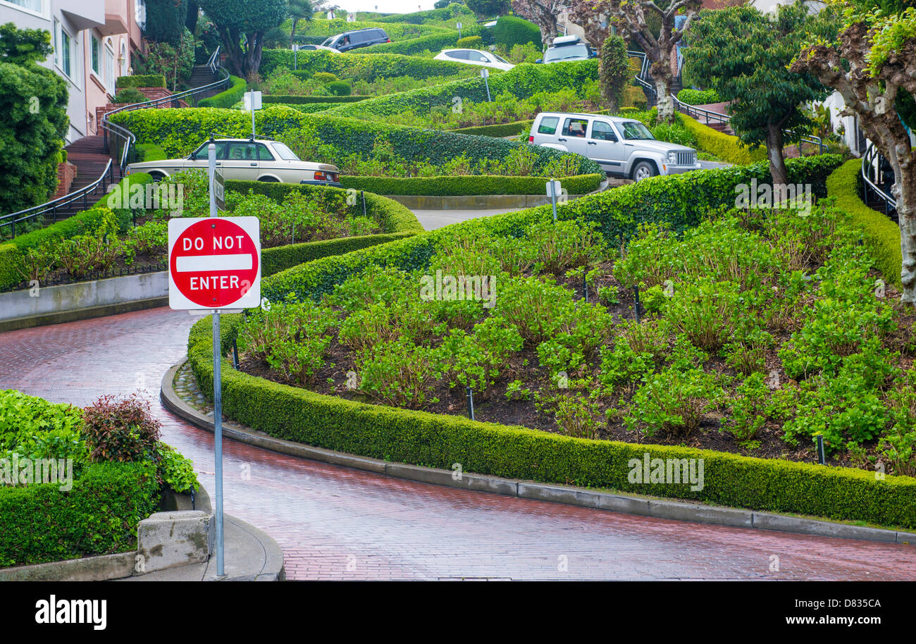 View of Lombard Street in San Francisco California - Stock Image