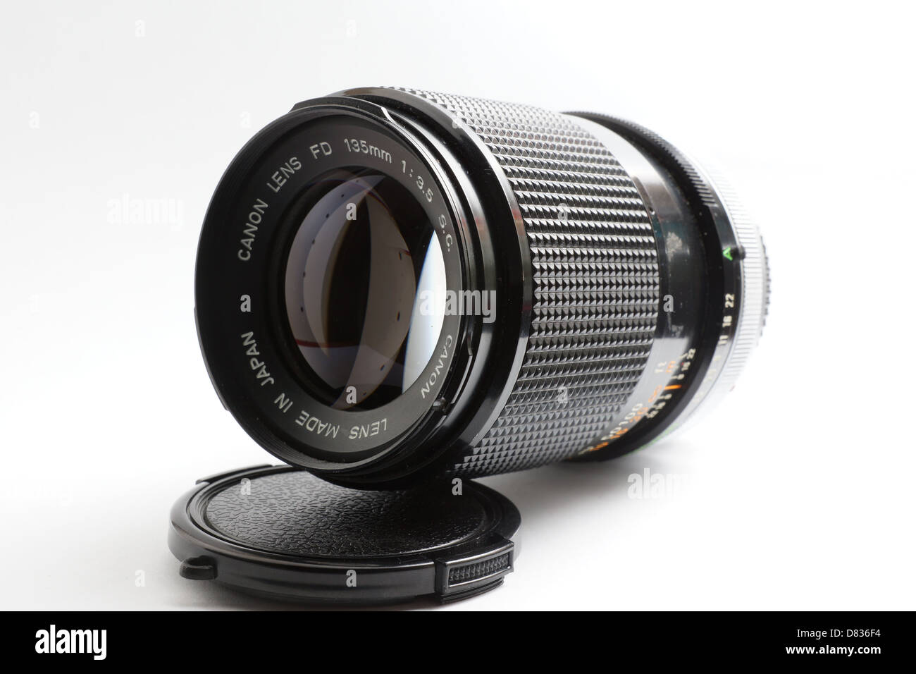 Camera lens for Canon FD, 135mm f3.5 telephoto lens - Stock Image
