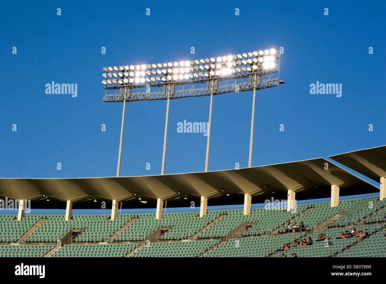 Stadium lighting at Dodger Stadium - Stock Image