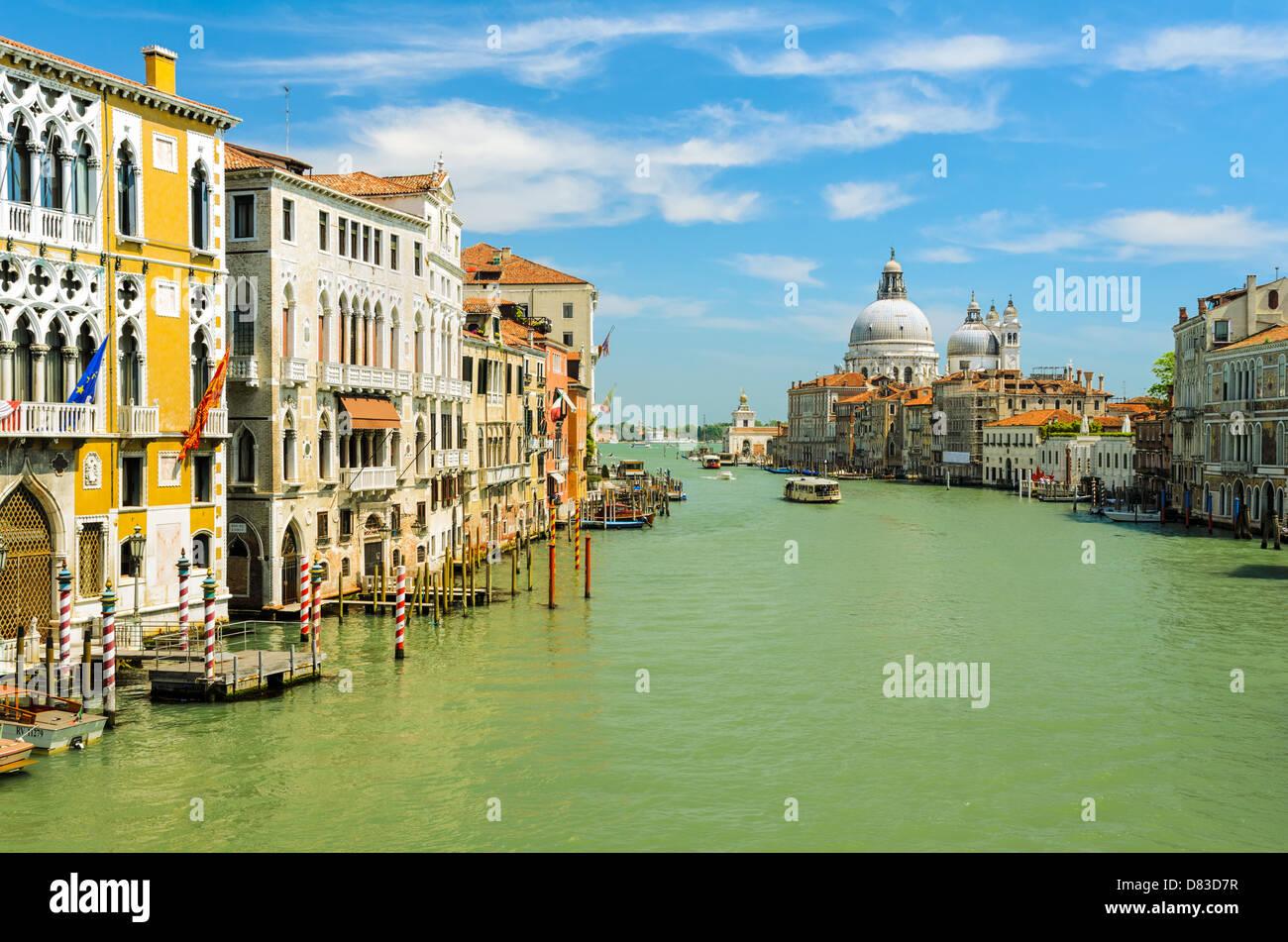 Grand Canal view towards the Basilica Santa Maria della Salute, Venice - Stock Image