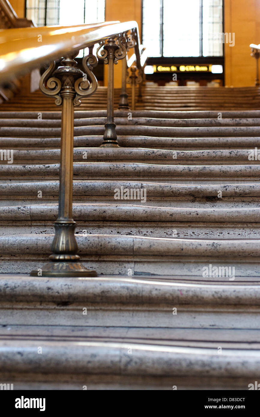 Worn steps at Union Station. - Stock Image
