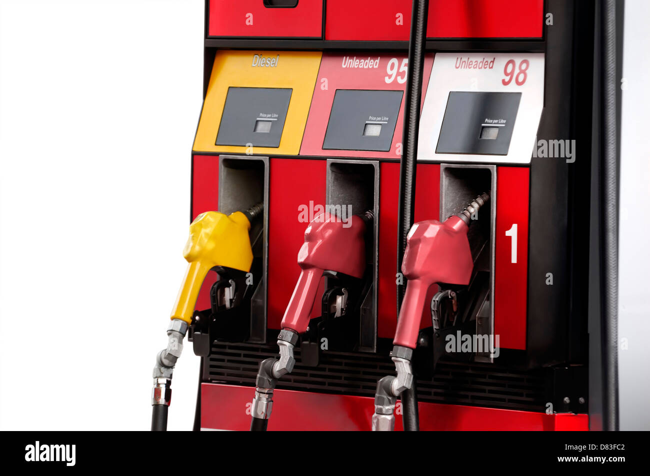 Gas pump with unleaded 95 and 98 petrol, regular and premium gasoline, and diesel fuel isolated on white background Stock Photo