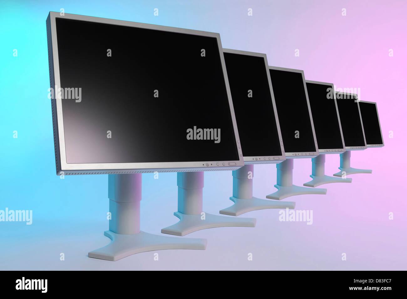 Row of LCD monitors - Stock Image