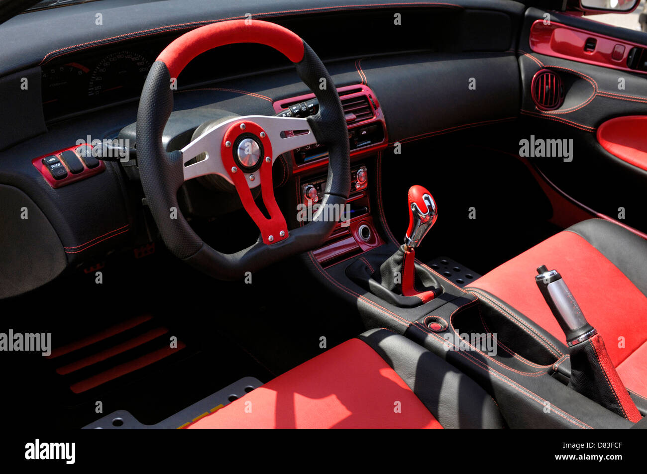 custom car red and black leather interior stock photo. Black Bedroom Furniture Sets. Home Design Ideas