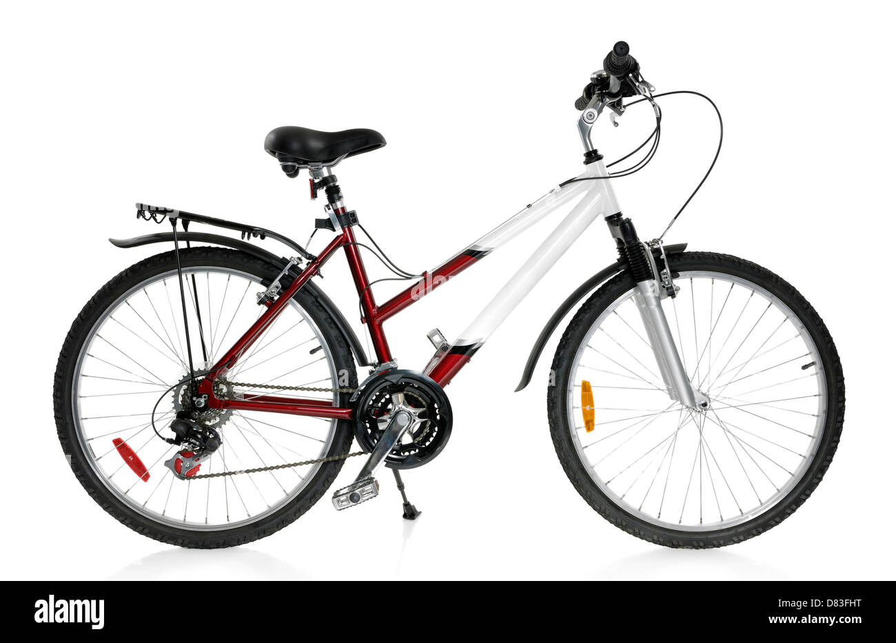 MTB sport 21-speed womens mountain bicycle Isolated on white background - Stock Image