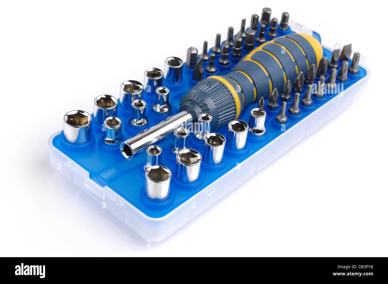 Set of tools ratchet with screwdriver bits and sockets Stock Photo
