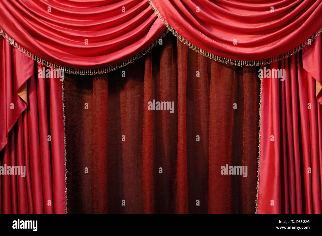 Red curtain background - Stock Image