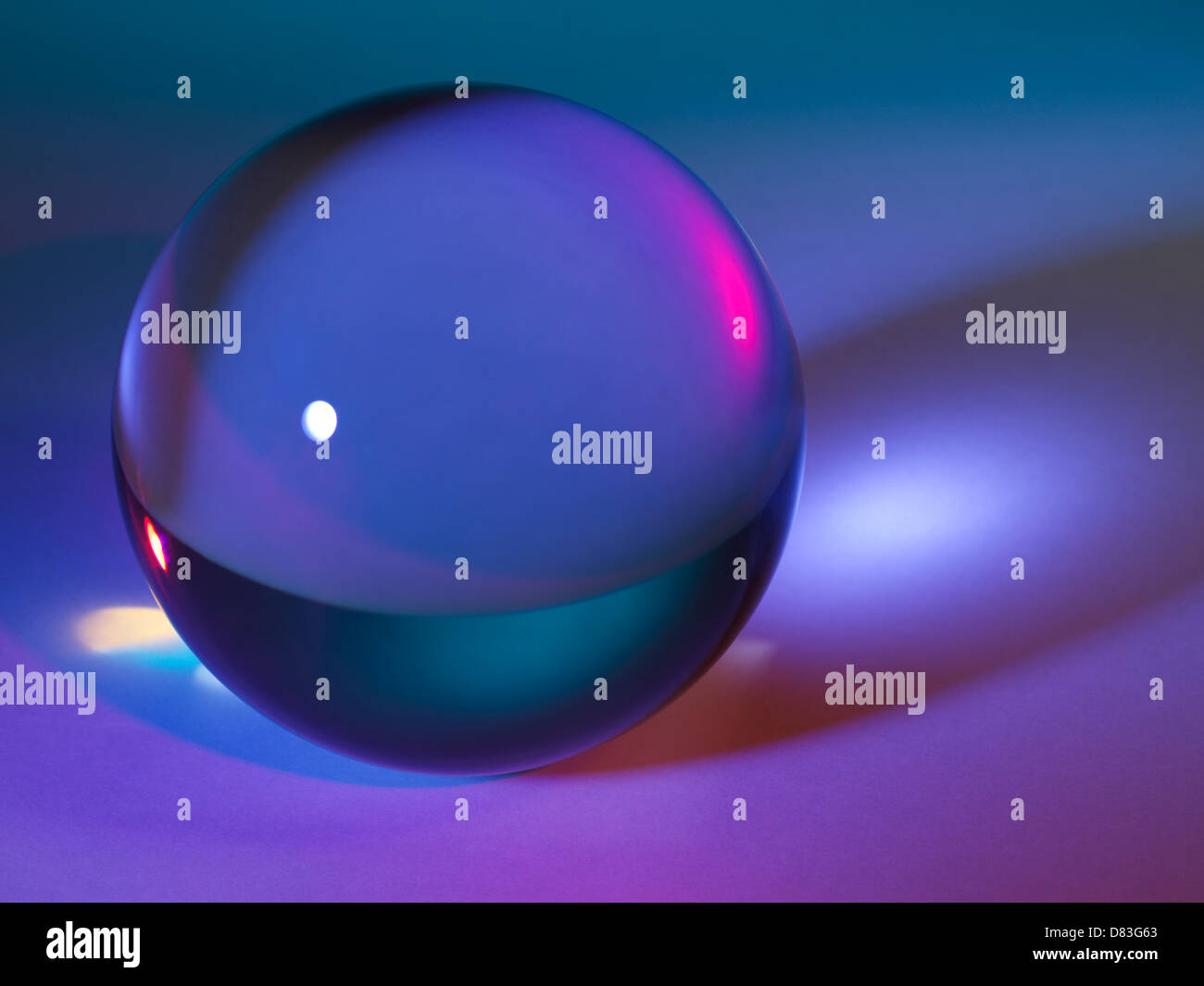 Abstract crystal ball on colorful background - Stock Image