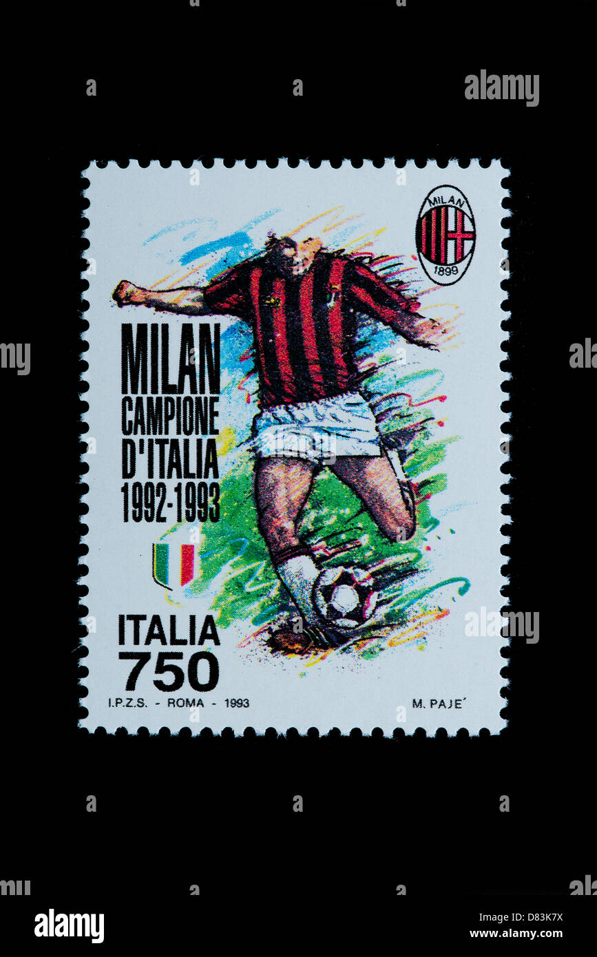 Celebration of the victory of Milan of the italian football championship 1992-1993 in an italian stamp - Stock Image