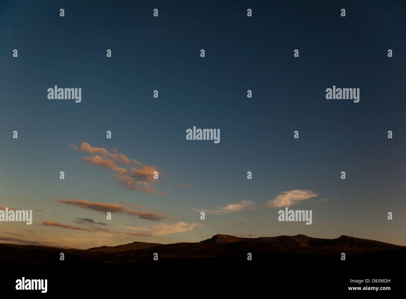 Cadiar Idris cader idris at sunset with low clouds abstract shapes lonely skies isolation and freedom Stock Photo