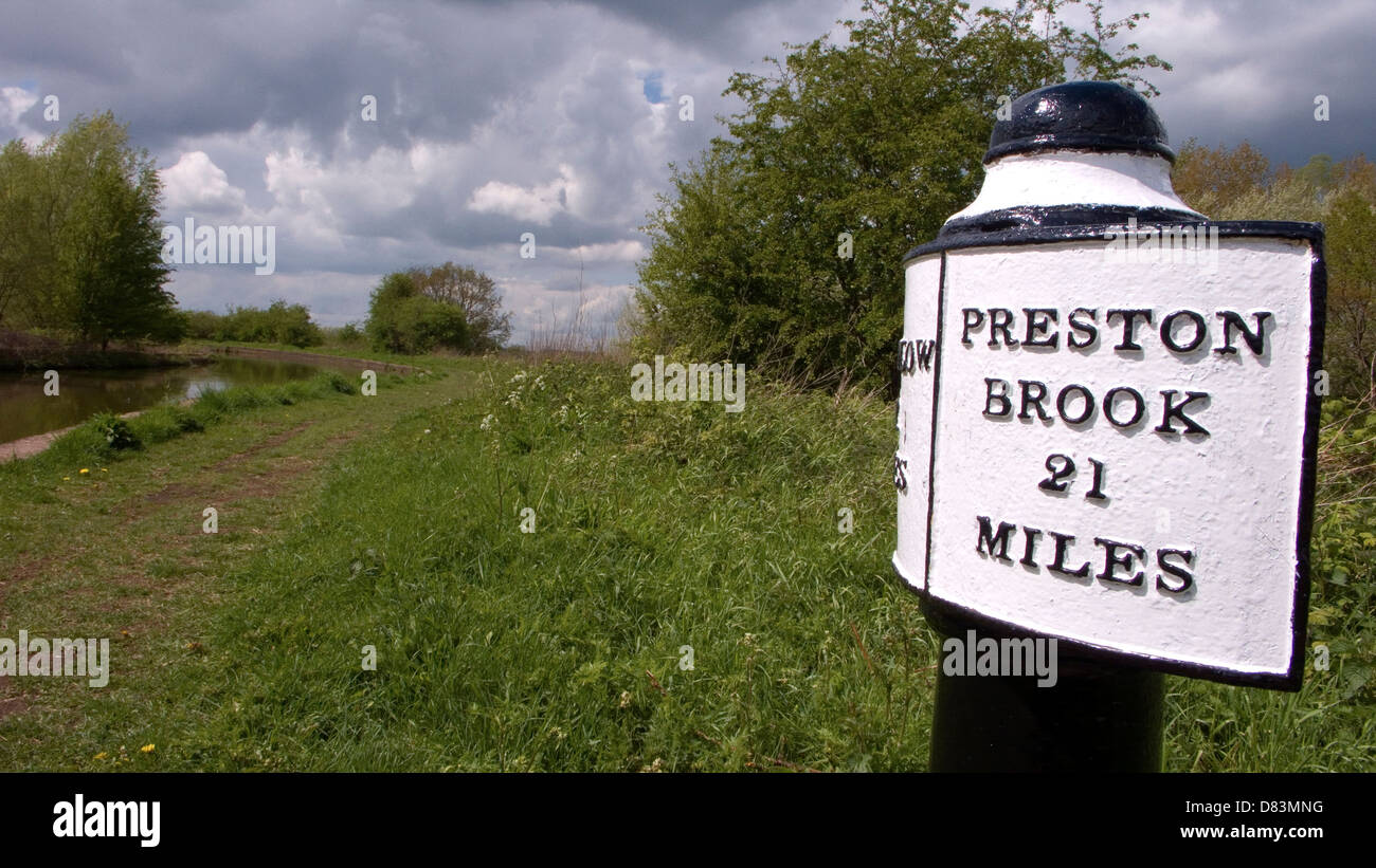Preston Brook sign post on the Trent and Mersey canal near Sandbach UK - Stock Image