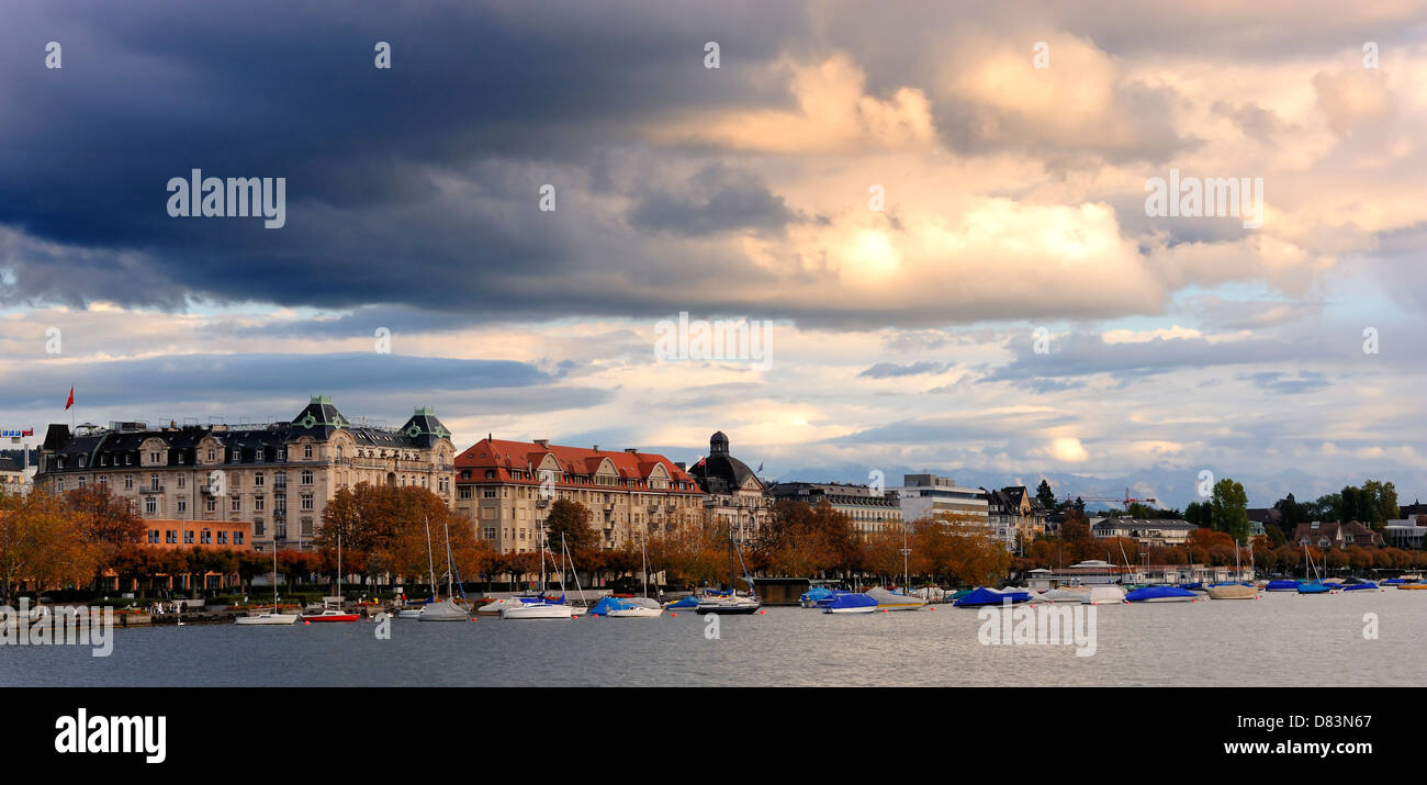 The little port at Zurich lake, Switzerland - Stock Image