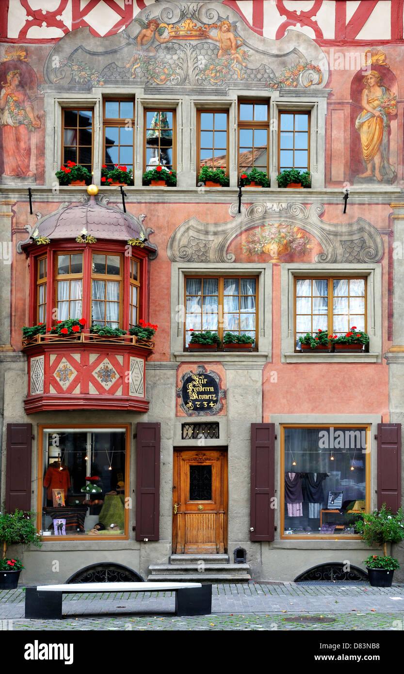 House facade in small town Stein am Rhein, Switzerland - Stock Image