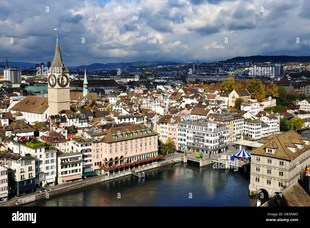 The aerial view of Zurich cityscape, Switzerland - Stock Image